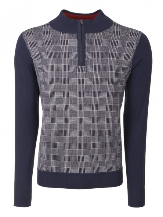 Patterned mock neck sweater