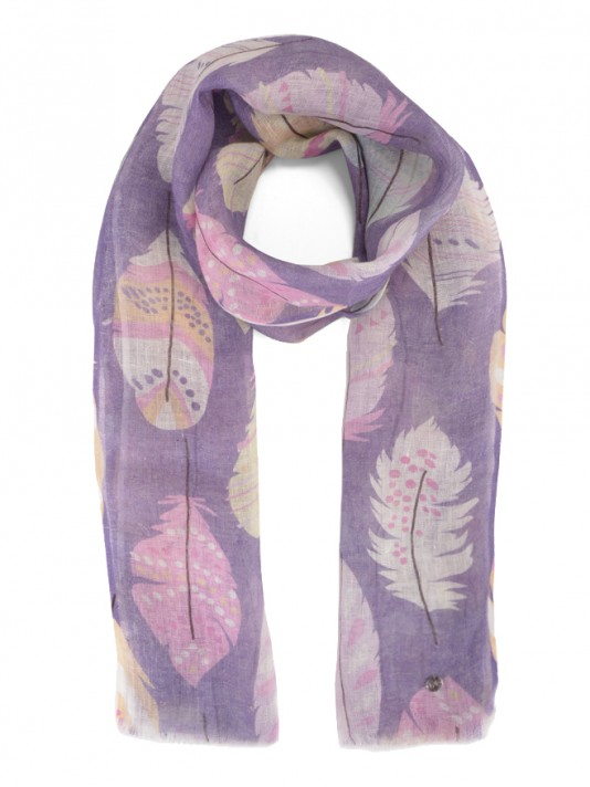 Printed tree leafs scarf