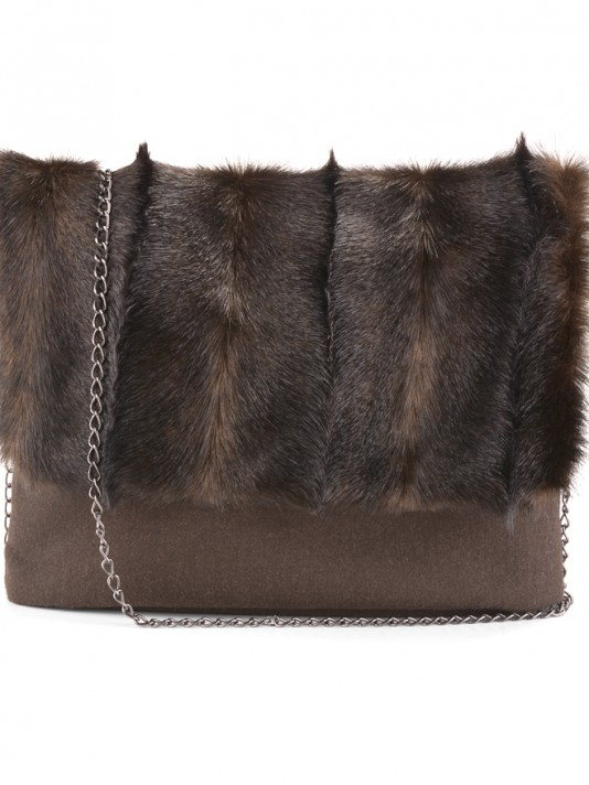 Fur bag with chain
