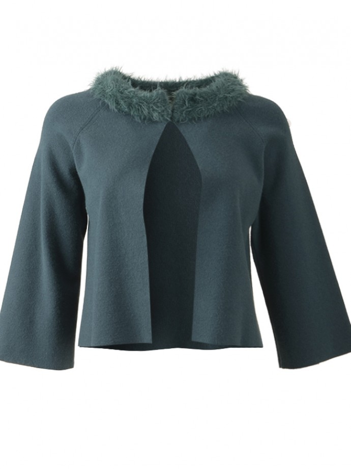 Knit jacket with fur neck