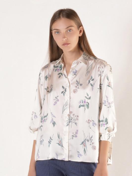 3/4 sleeve printed flowers blouse