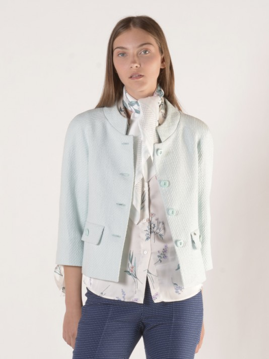 3/4 sleeve jacket with buttons