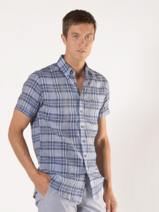 Short sleeve checked regular fit shirt