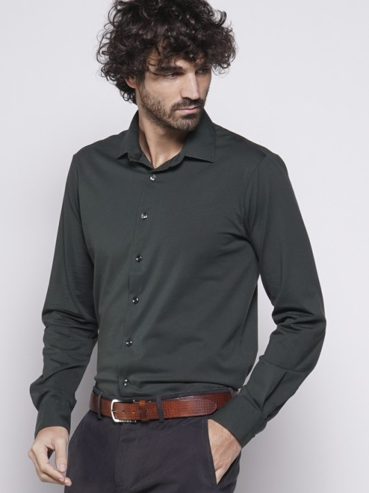 Knit slim fit shirt