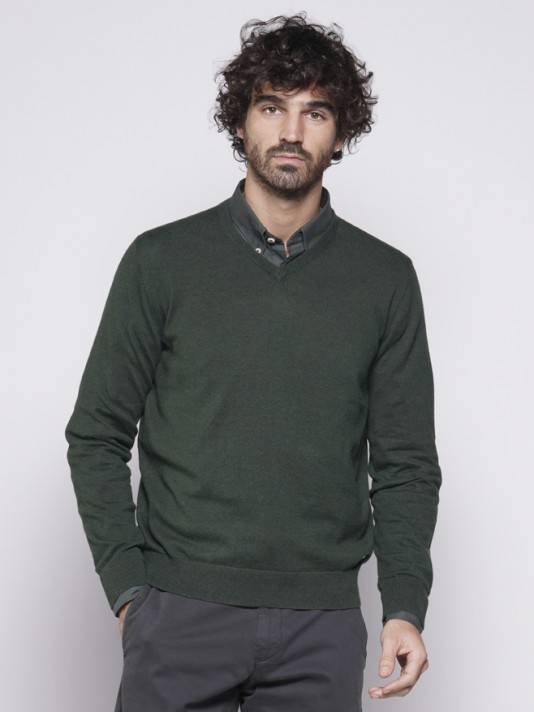 V-neck sweater with elbow pads