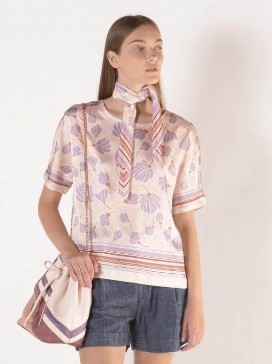 Printed flowers short sleeve tunic