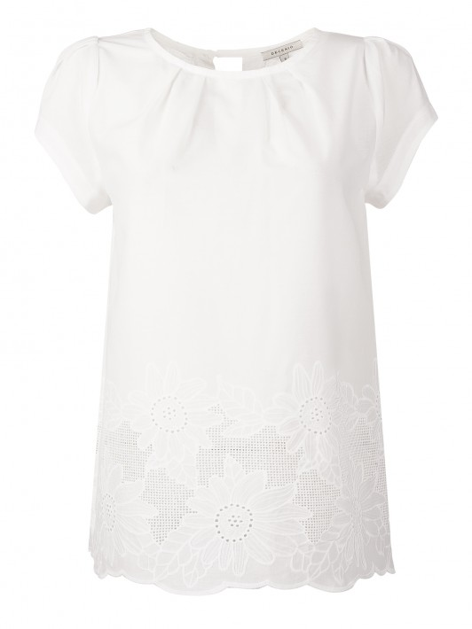 Short sleeve blouse with embroidered detail
