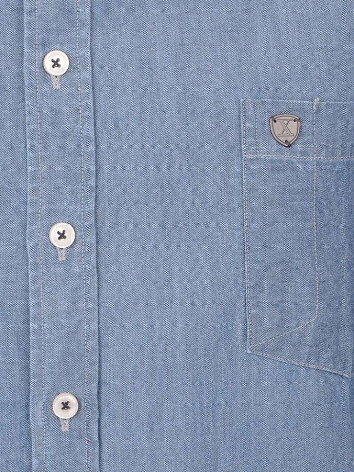 Camisa denim slim fit manga corta