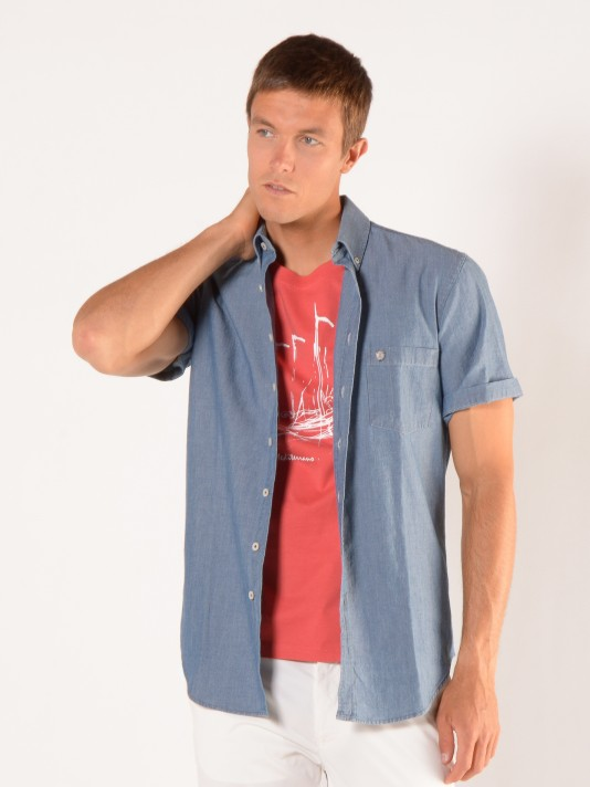 Camisa denim slim fit manga corta