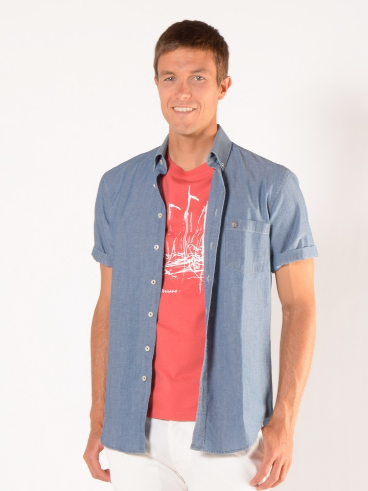 Camisa denim slim fit manga curta