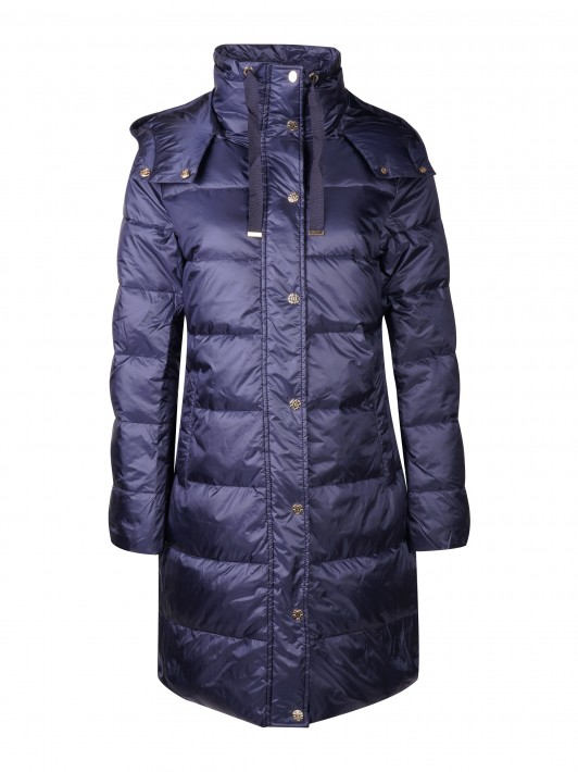 Hooded and quilted jacket