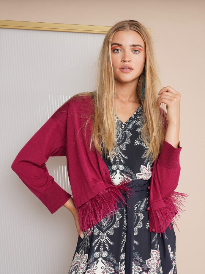 Knit jacket with removable feathers