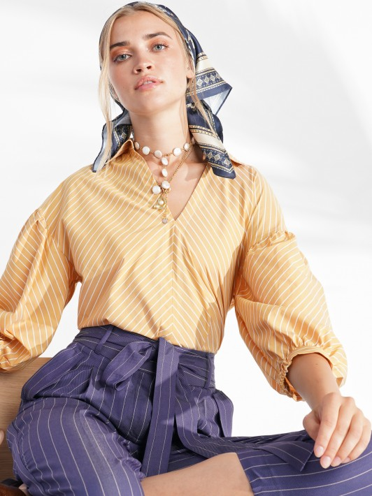 Striped 3/4 sleeve blouse