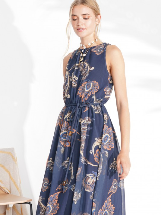 Sleeveless dress with cornucopia print