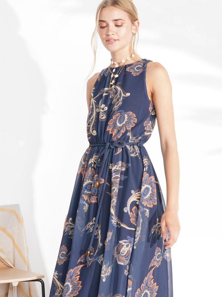 Sleeveless dress with cornucopia print