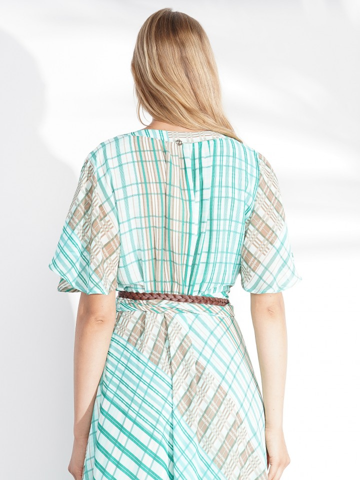 Checked short sleeve dress