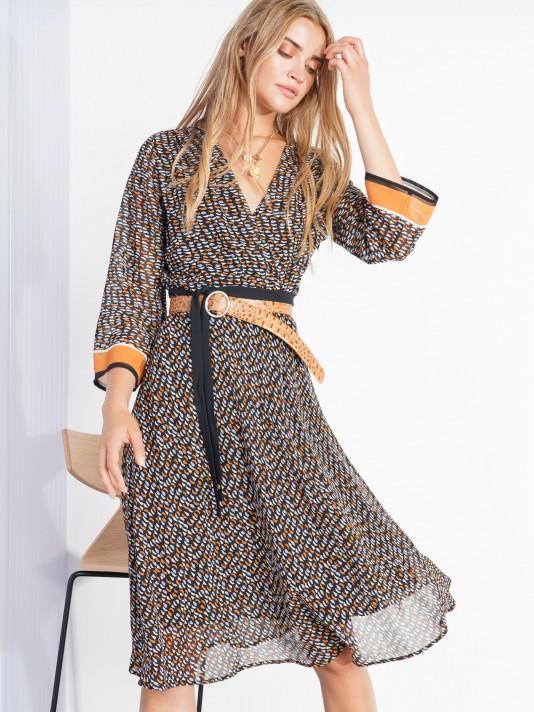 3/4 sleeve patterned dress
