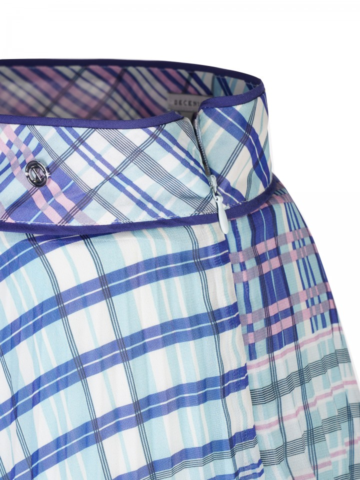 Checked pattern pleated skirt