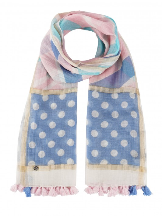 Colorful scarf with polka-dot