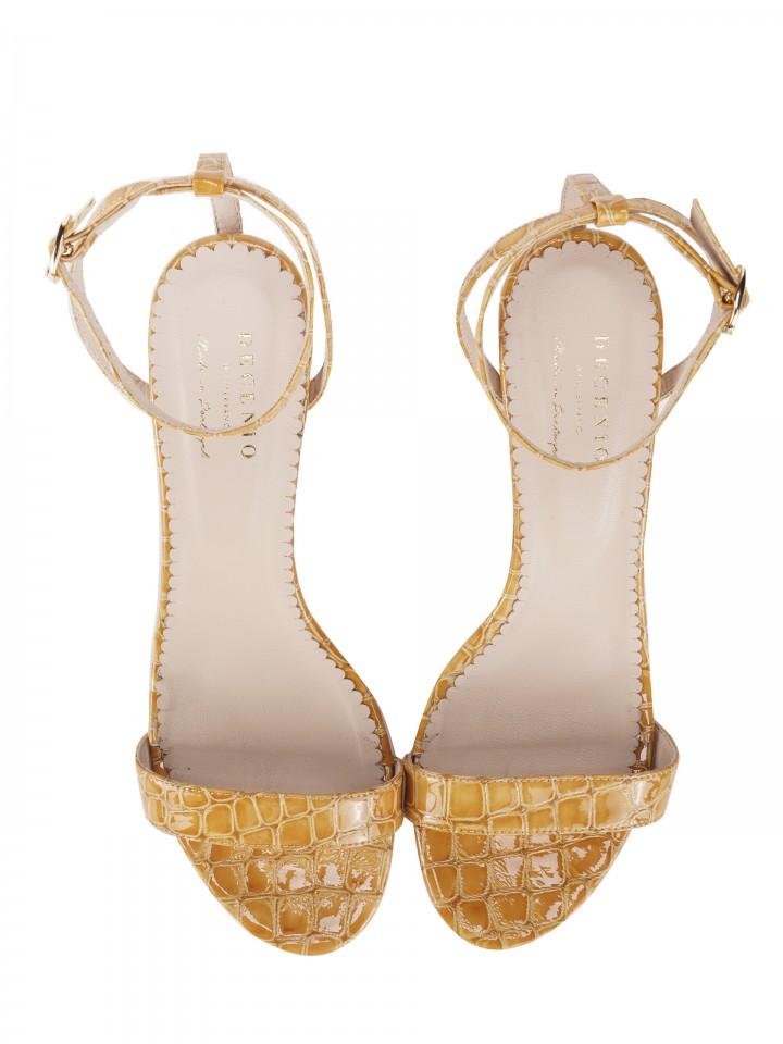 Croc-effect leather sandals