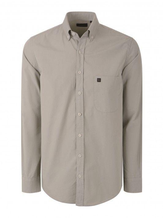Camisa regular fit lisa manga comprida
