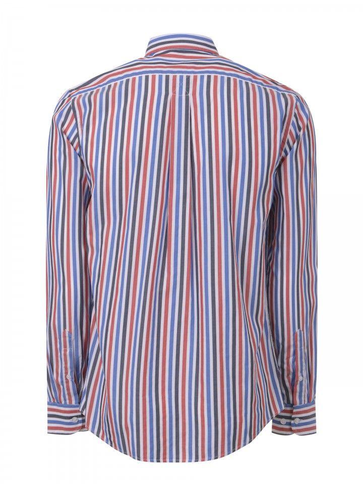 Camisa riscas regular fit com bolso