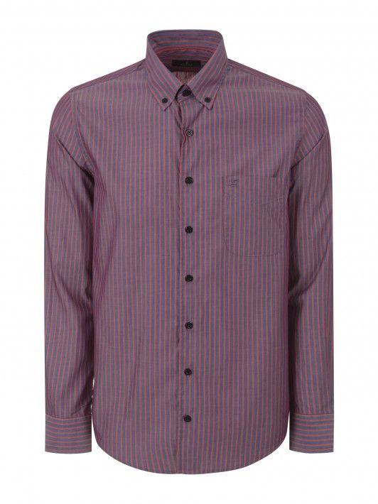 Camisa riscas com bolso regular fit
