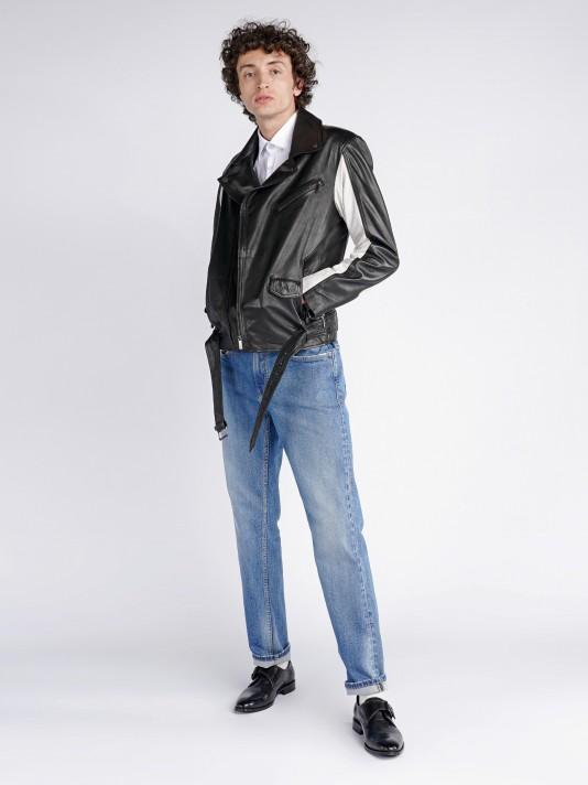 Denim regular fit trousers