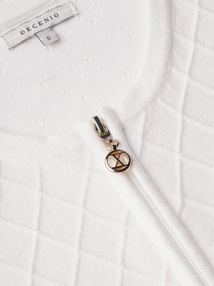 Geometric pattern knit jacket
