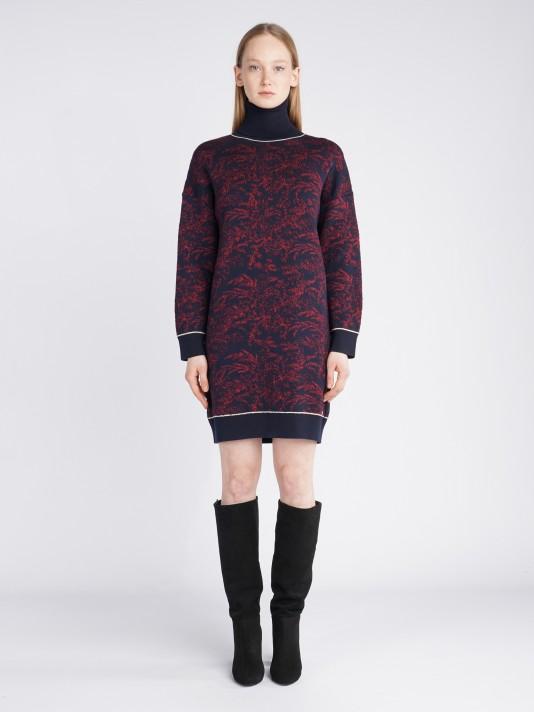 Turtleneck patterned dress