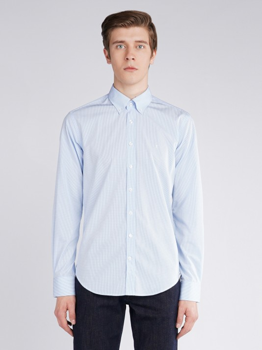 Micro vichy slim fit shirt