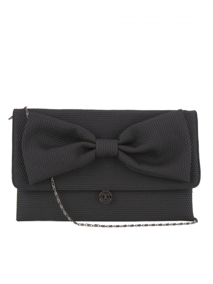 Crossbody bag with bow and chain