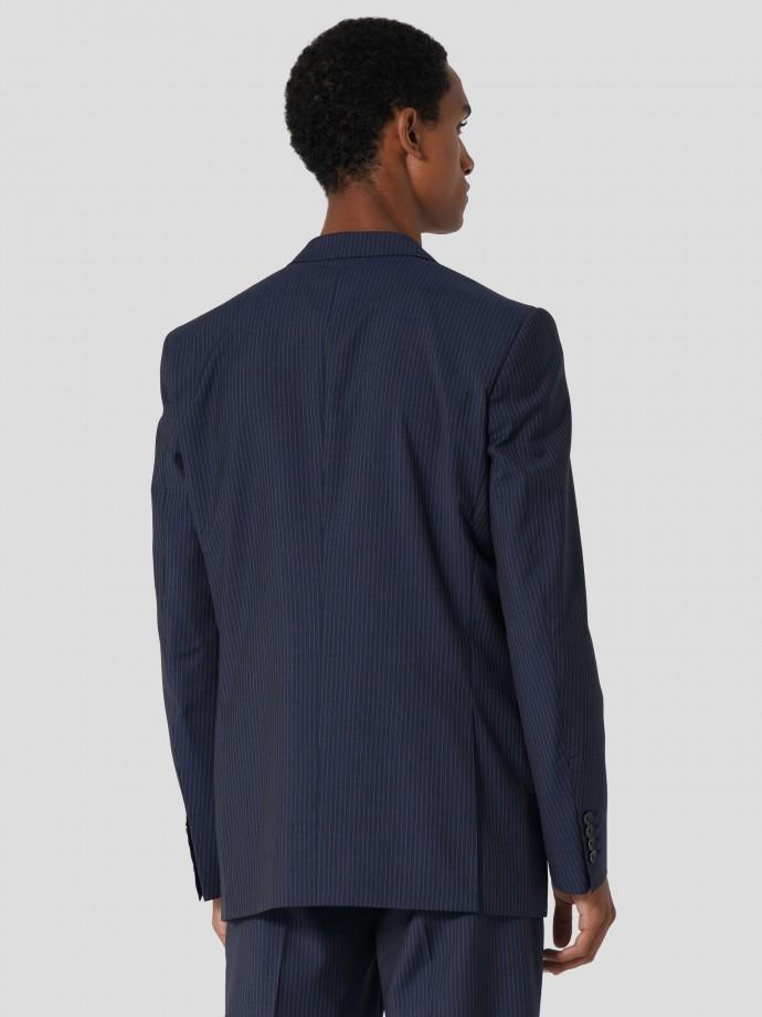 Blazer regular fit 100% lã com riscas