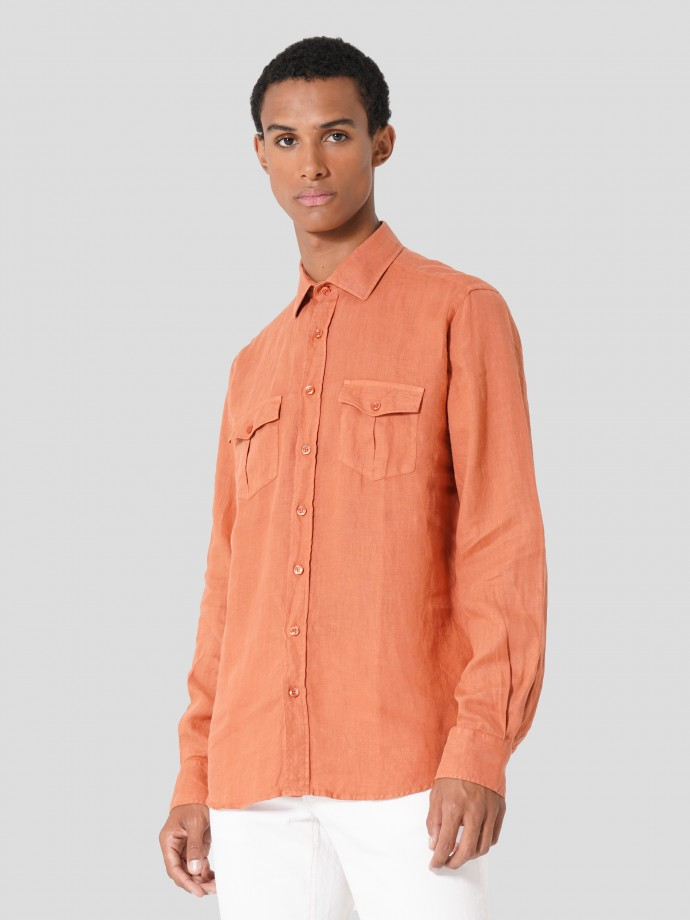 Camisa slim fit en lino