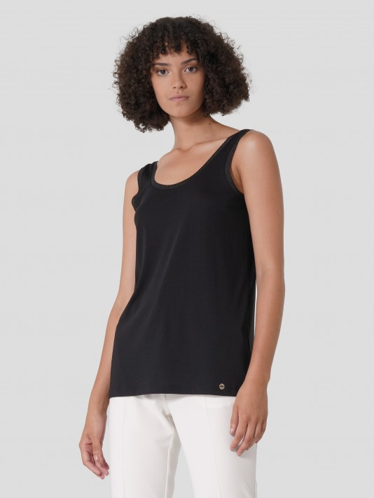 Top in lyocell and cotton