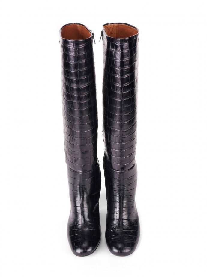 Effect crocodile high-leg boots