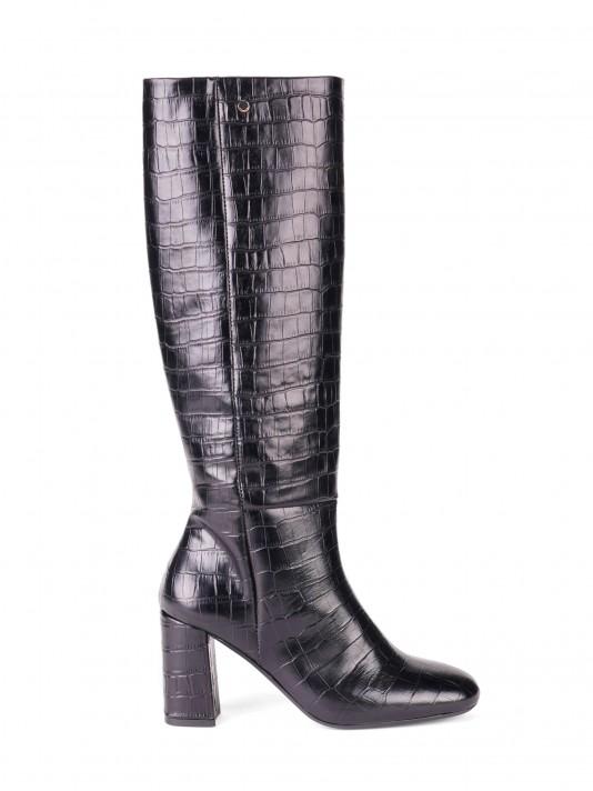 Effect crocodile high-leg boots