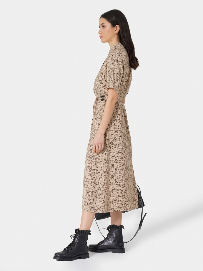 Vestido camisero largo estampado