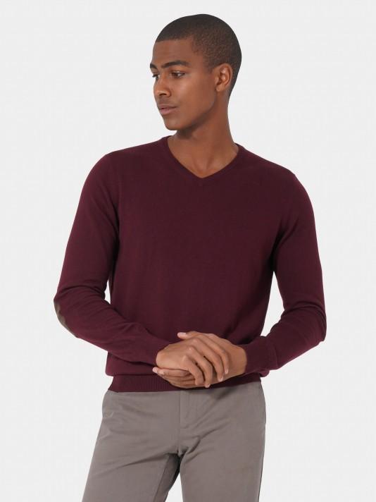 Jersey cuello pico algodón cashmere
