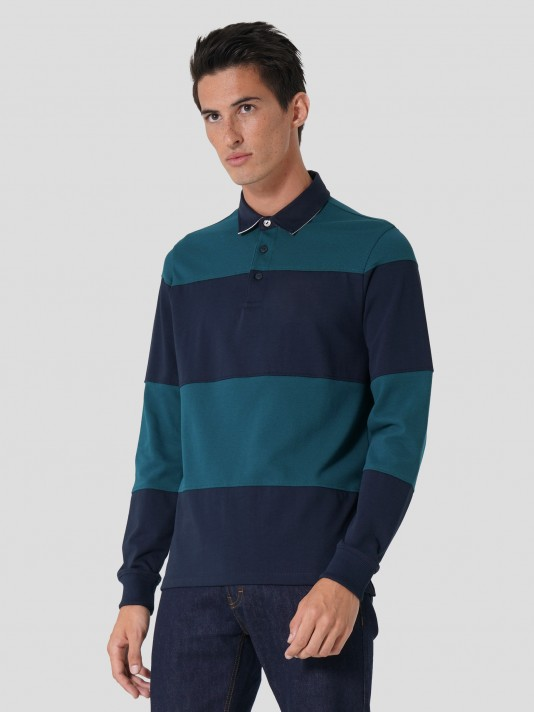 Striped polo with logo