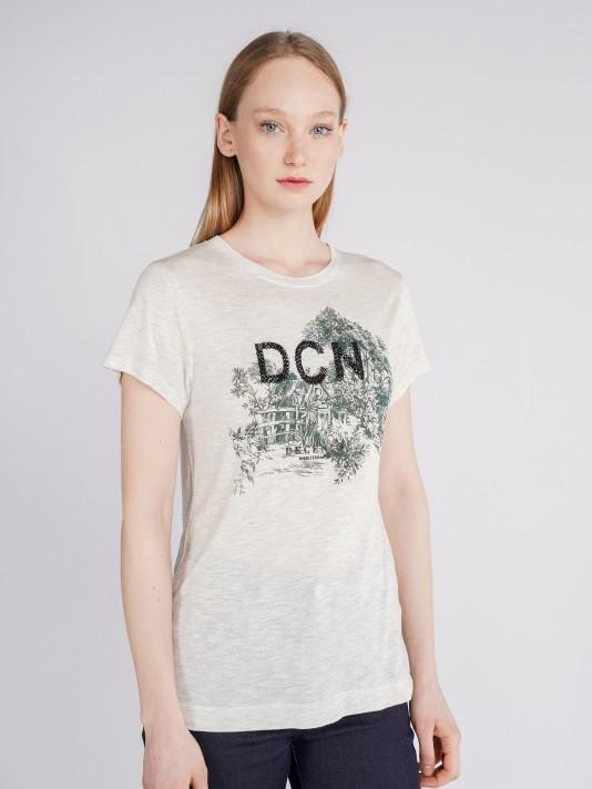 Camiseta con estampado y lantejuelas