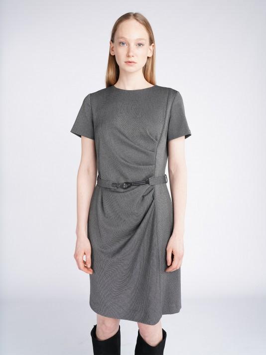 Vestido manga corta cinturón
