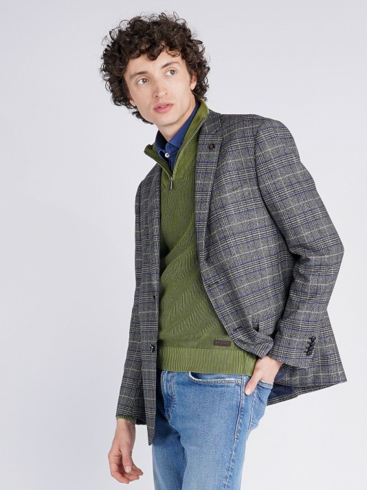 Checked regular fit blazer