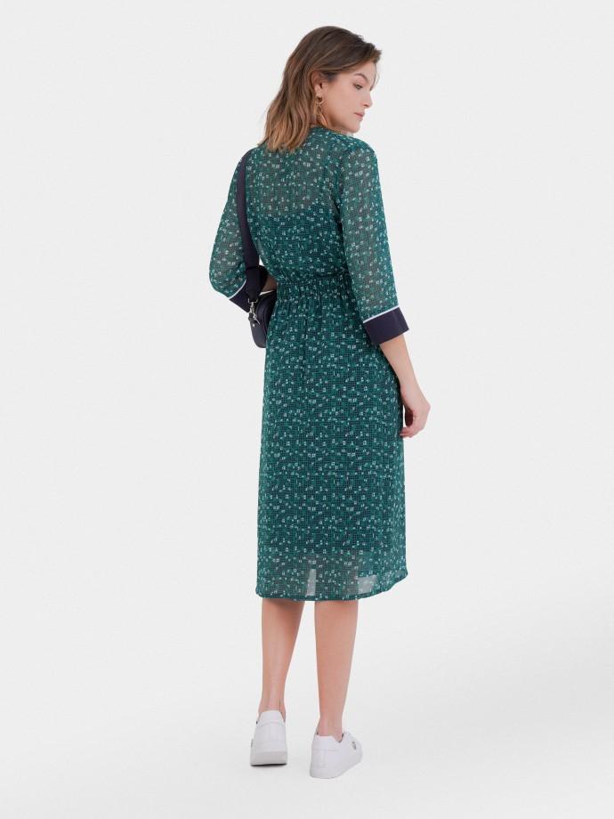 Patterned 3/4 sleeve dress