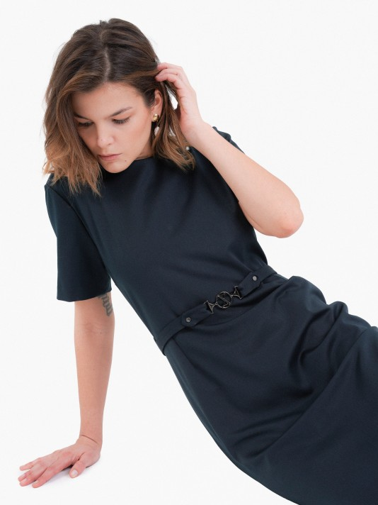Short sleeve dress with belt
