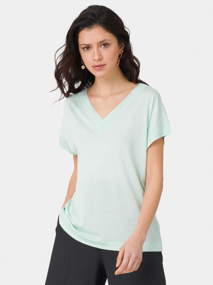 Tunic in lyocell and cotton with V-neck