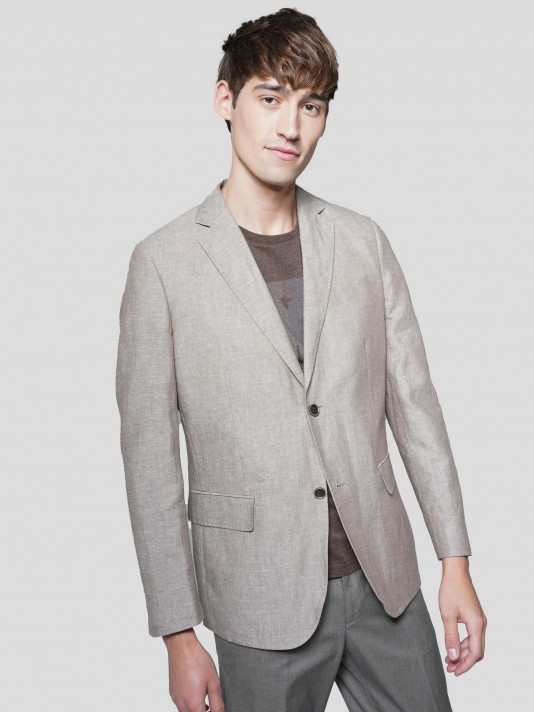 Cotton blazer and linen
