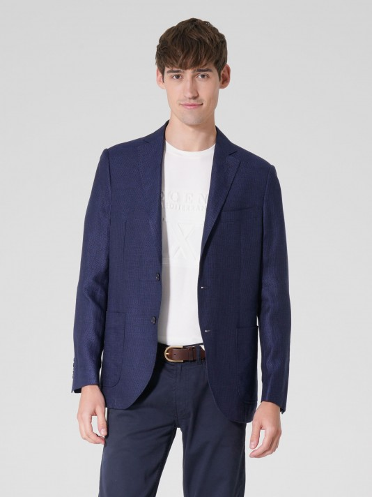 Regular fit linen blazer