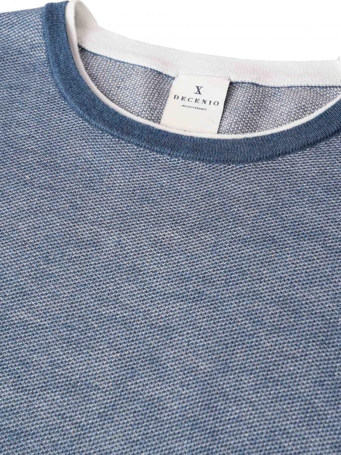 Camisola decote redondo em malha bicolor