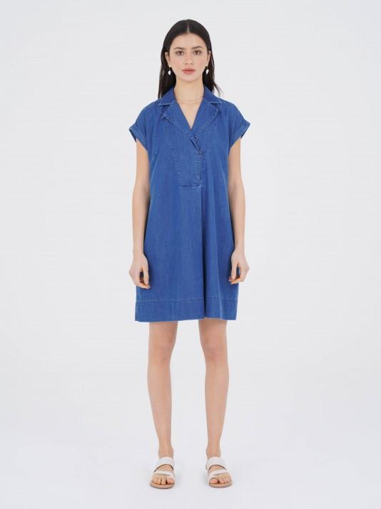 Vestido denim de lyocell y algodón